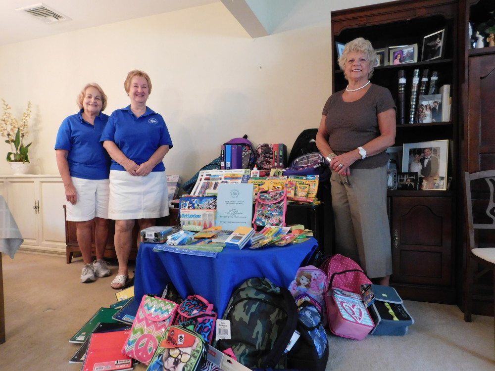 WCPTH Club Members with some of the school supplies collected and donated to JBWS.  From left - Cathy Haney, Bernadette Cicchino and Marilyn Marion, Club President